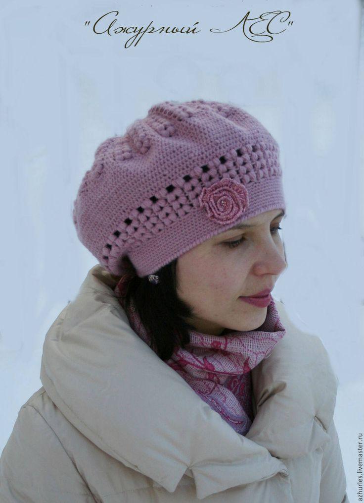 Hats For Women, Knit Hat, Crochet Hat Women, Crochet Beret Hat, Knit French Beret, Womens Hat, Gift For Her, Pink, Wool Elegant Ladies Hat by AzhurLES on Etsy