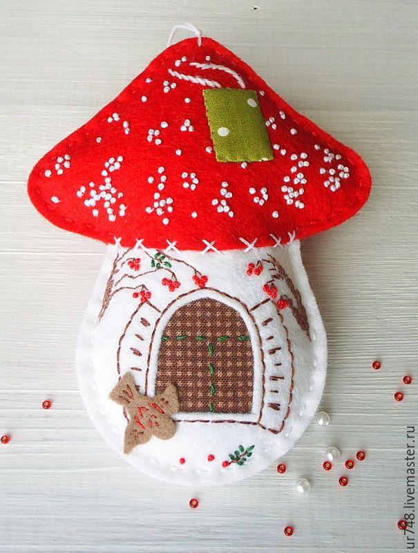 """Купить Елочная новогодняя игрушка """"Домик-мухомор""""(красный,белый) - ярко-красный, белый, подарки на новый год"""