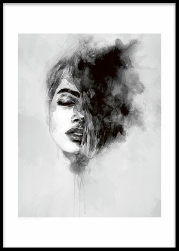 Black and white art poster depicting a woman with a white border all around the motif match this art print with our popular black feather poster or with