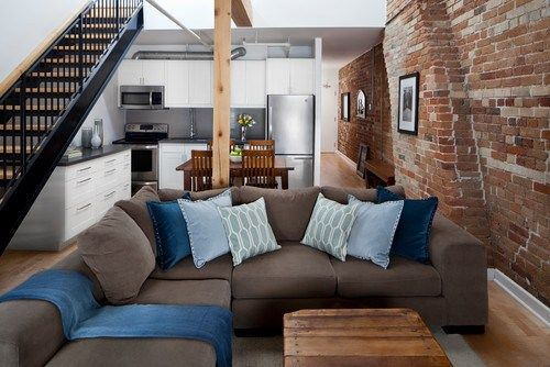 ten tips to make any room better | inspired habitat: Modern Living Rooms, Brick Wall, Rad Design, Brown Sofas, Colors Schemes, Exposed Brick, Expo Brick, White Wall, Wall Design