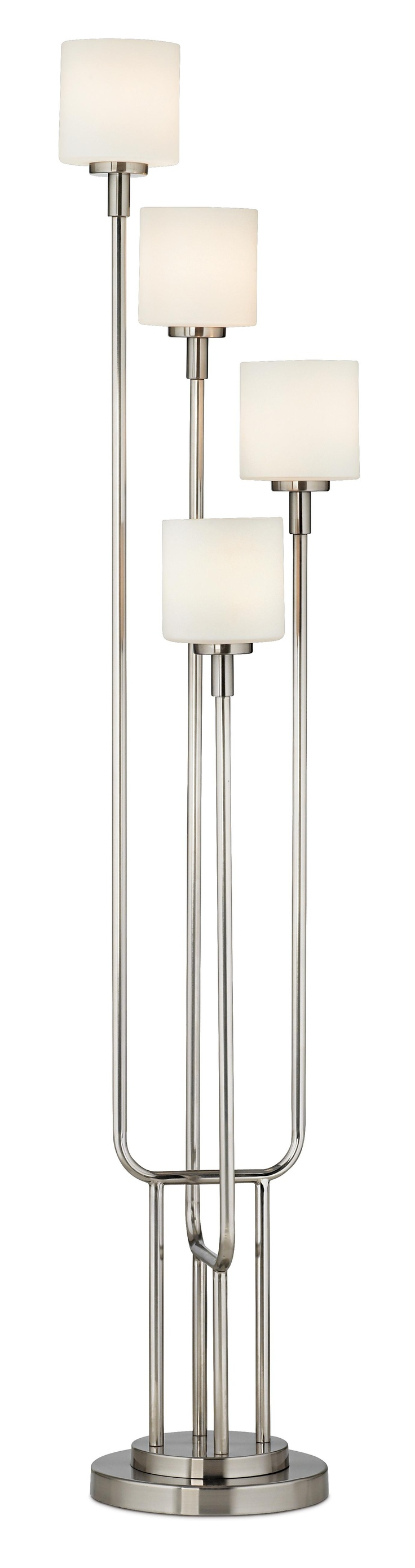 Brushed Steel And Frosted Glass Light Tree Floor Lamp   Lamps Plus