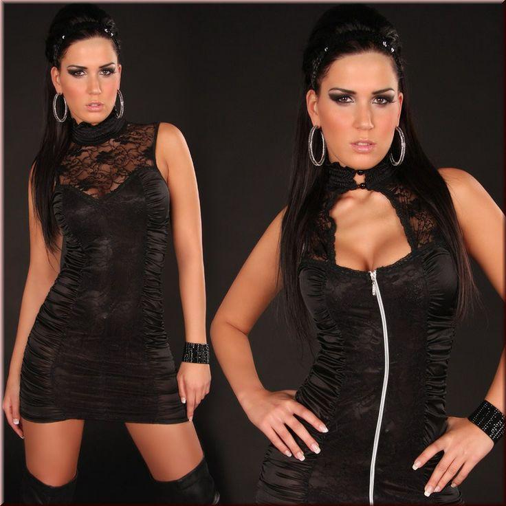 Sexy Two-Sided Mini Dress With Black Lace Clubwear 2443-2 : Tidebuy.com