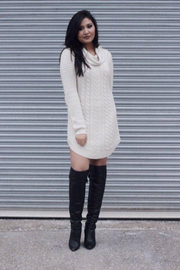 Стильное сочетание: платье-свитер и сапоги 11