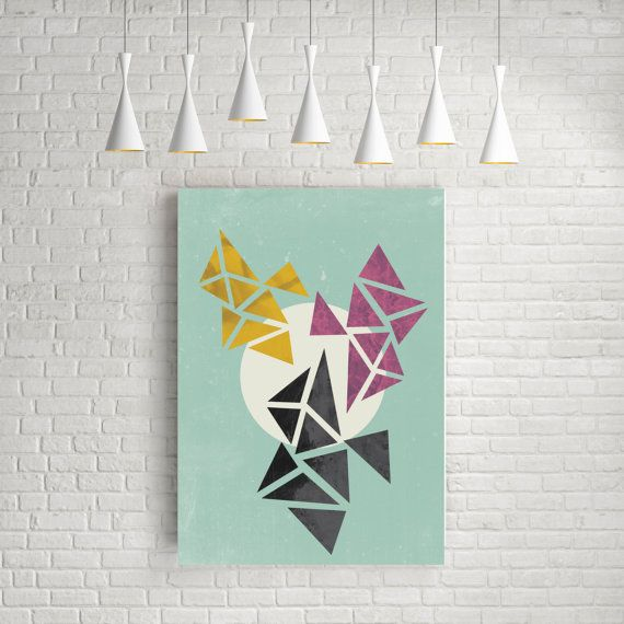 Modern wall print, large wall art, fine art print, room decor, abstract art prints, triangle art, original art gift.  Inspired by scandinavian design.