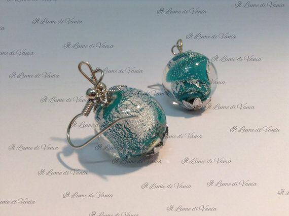Orecchini foglia argento vetro di Murano