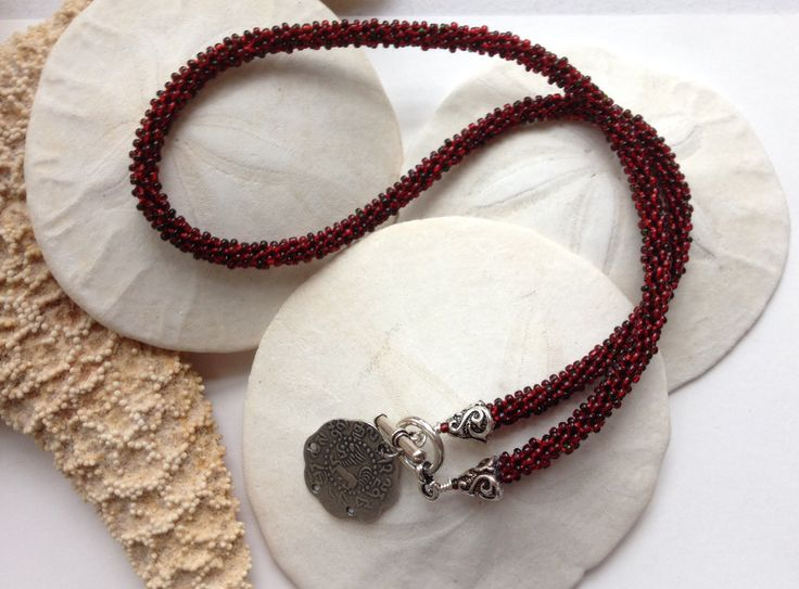 Garnet inspired Kumihimo choker necklace