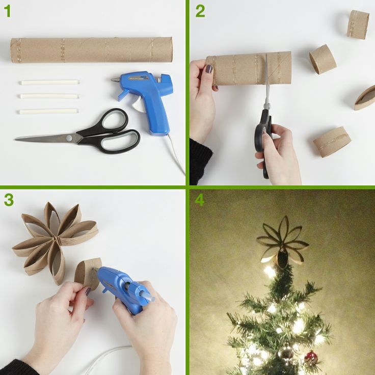 Upcycle your used paper towel rolls into a star for your tree and go even greener this year!