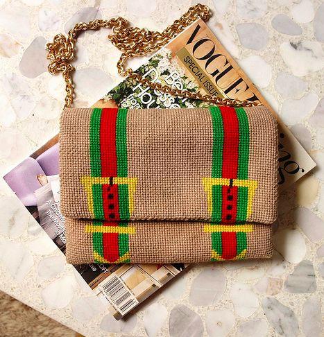 vintage gucci-esque needlepoint purse