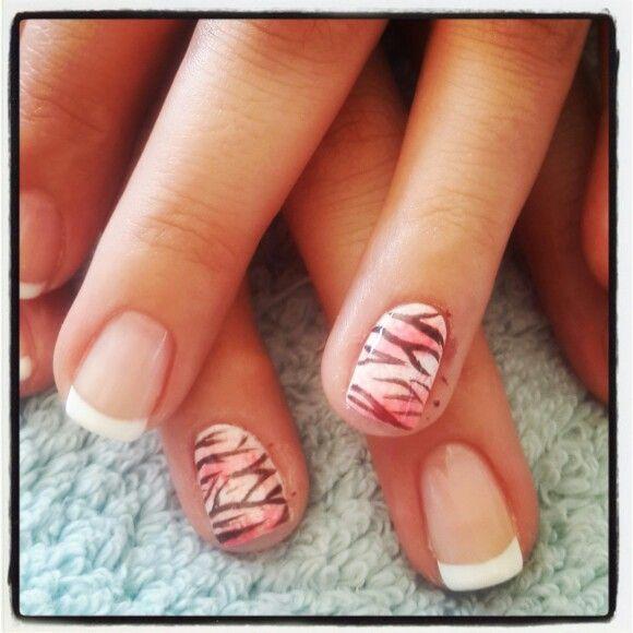 #nailart #nails #animalprint #funky#white#french#barrettkirsten#ombre#peach#pink