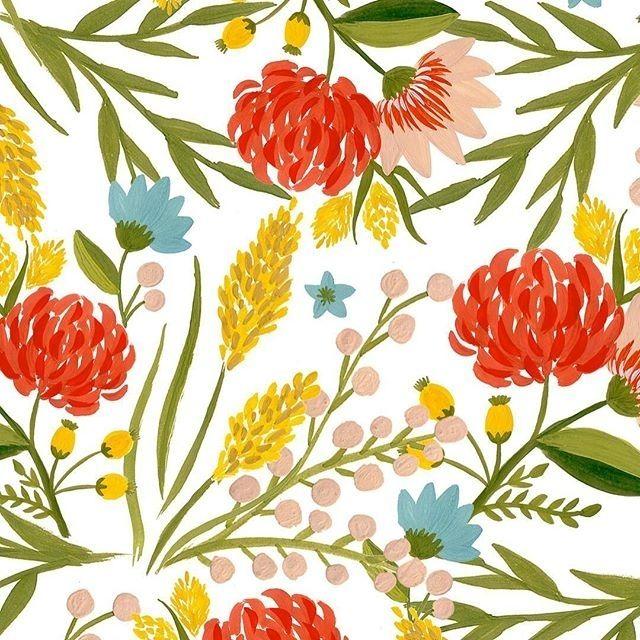 jldesignuk ❤️❤️ #art #surfacespatterms #print #pattern #flower #illustration #summer #surfacedesign #foliage