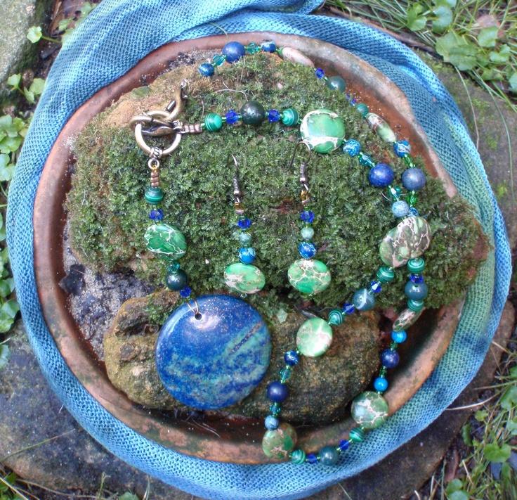 "Multi Gemstone - Sea Sediment Jasper - Crystal - Jade - Malachite - Lapis Lazuli  ""world""  Pendant - Necklace & Earring set. $65.00, via Etsy."