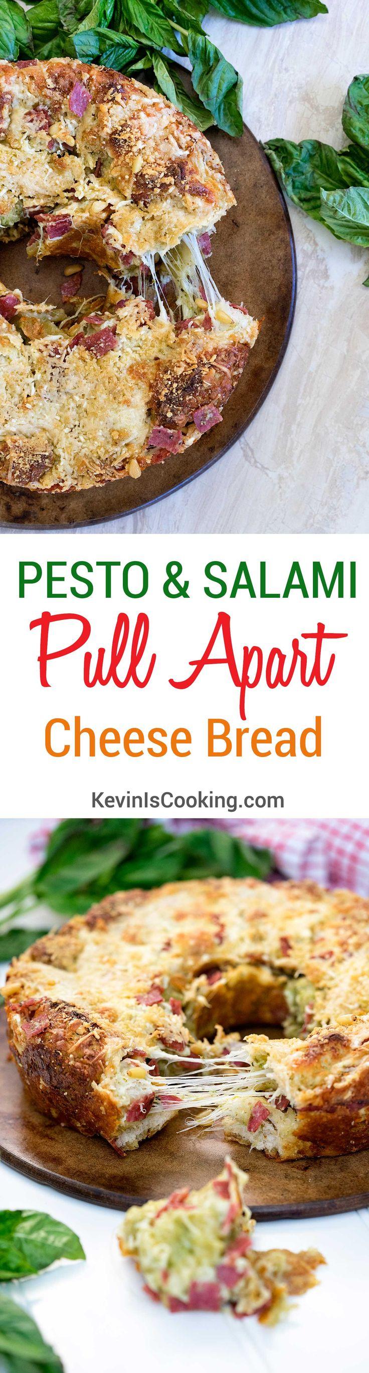 Pesto & Salami Pull Apart Cheese Bread Recipe via @keviniscooking