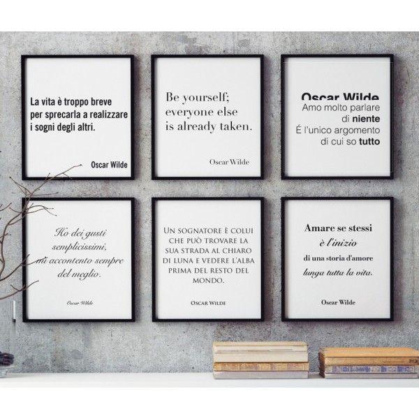 Kit di 6 poster con citazioni di #OscarWilde. Abbiamo raccolto i migliori aforismi del geniale Oscar Wilde per voi, acquistateli in un unico blocco a euro 59,90 (invece di 95,40). Perfetti per arredare interamente casa vostra o come pensiero regalo per i vostri amici.