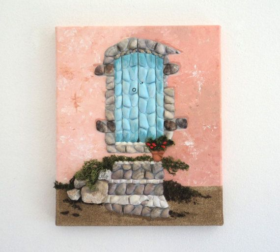 Acrylic Painting, Artwork with Seashells, Old Greek Door with Steps in Seashell Mosaic & Sand, Mosaic Art, 3D Art Collage, Wall Decor, Home Decor #ArtworkwithSeashells #mosaiccollage #seashellmosaic #homedecor #walldecor #3D