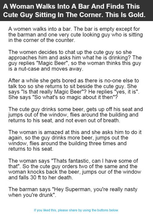 A Woman Walks Into A Bar And Finds This Cute Guy Sitting In The Corner. This Is Gold.   Alltopics