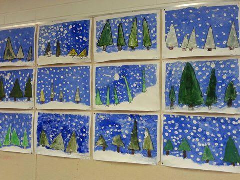 2.luokan talvimaisema. A3-paperi maalarinteipillä alustaan. Paperista leikataan kolmioita, jotka sinitarralla kiinni A 3 - paperille. Hahmottele hanki lyijykynällä. Töpötellään sinistä+valkoista pulloväriä tausta täyteen (ei hangelle). Poista kuusikolmiot. Vesi/peiteväristä sekoitellaan mieluinen vihreä sävy, jolla kuuset maalataan. Hanki töpötellään valkoisella pullovärillä. Mustalla vahavärillä vahvistetaan kuusten reunat. Lopuksi vielä pullovärillä sormipainannalla lumihiutaleet.