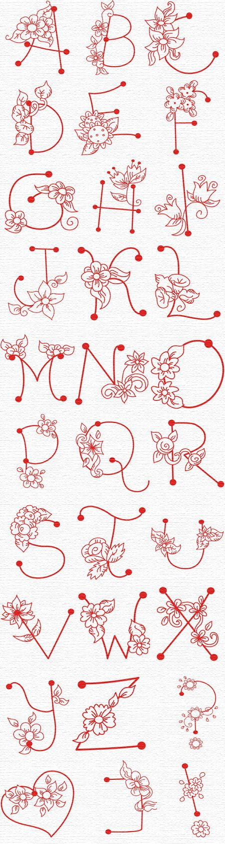 Flower letters for embroidery