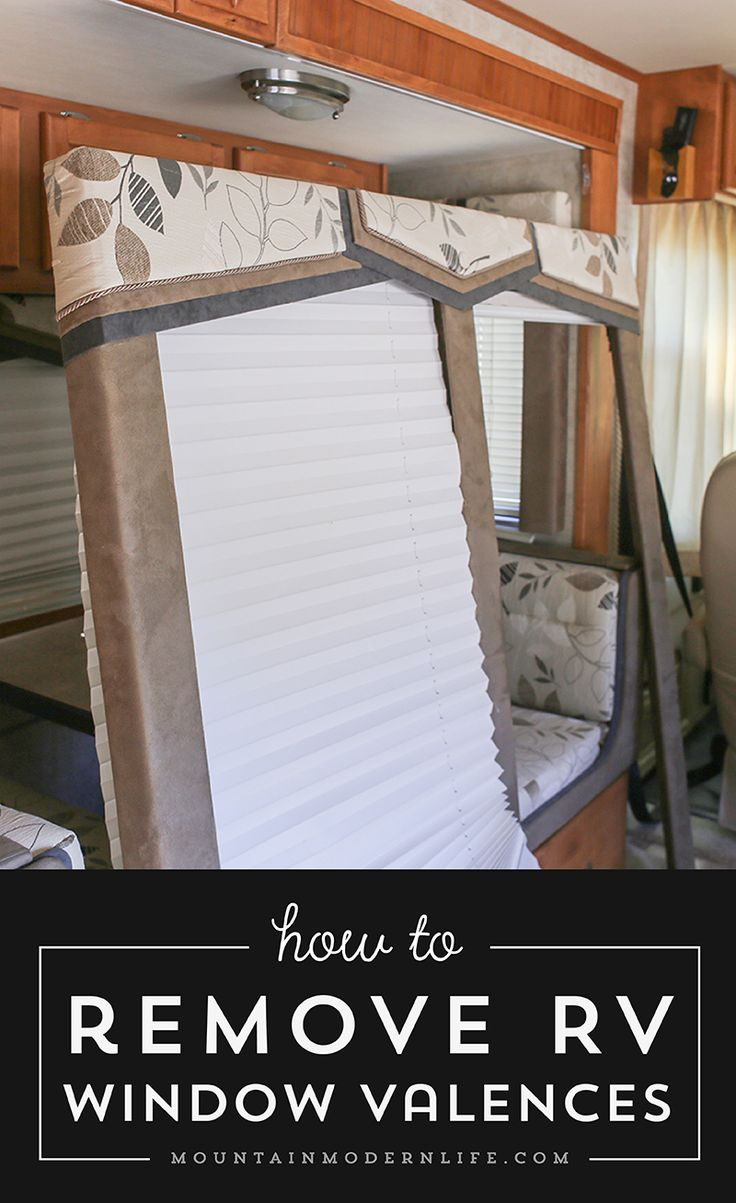 Check out this quick walkthrough on how to remove those hideous RV window valences, in case you want to update or replace them.  via @MtnModernLife