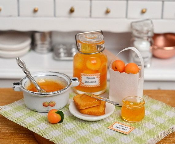 RESERVED-Miniature Making Peach Jam Set with Shabby Pot