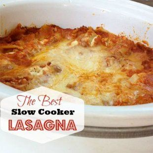 The best slow cooker dinner!  1 lb lean ground beef   2 jars (each 24 oz.) spaghetti sauce (homemade or store-bought)   2 cups water   1 lb. whole-milk ricotta cheese   2 tbsp. chopped fresh flat-leaf parsley (optional)   Salt and pepper to taste   18 ruffle-edged lasagna noodles (not no-boil noodles)   1 1/2 lb. mozzarella cheese, grated