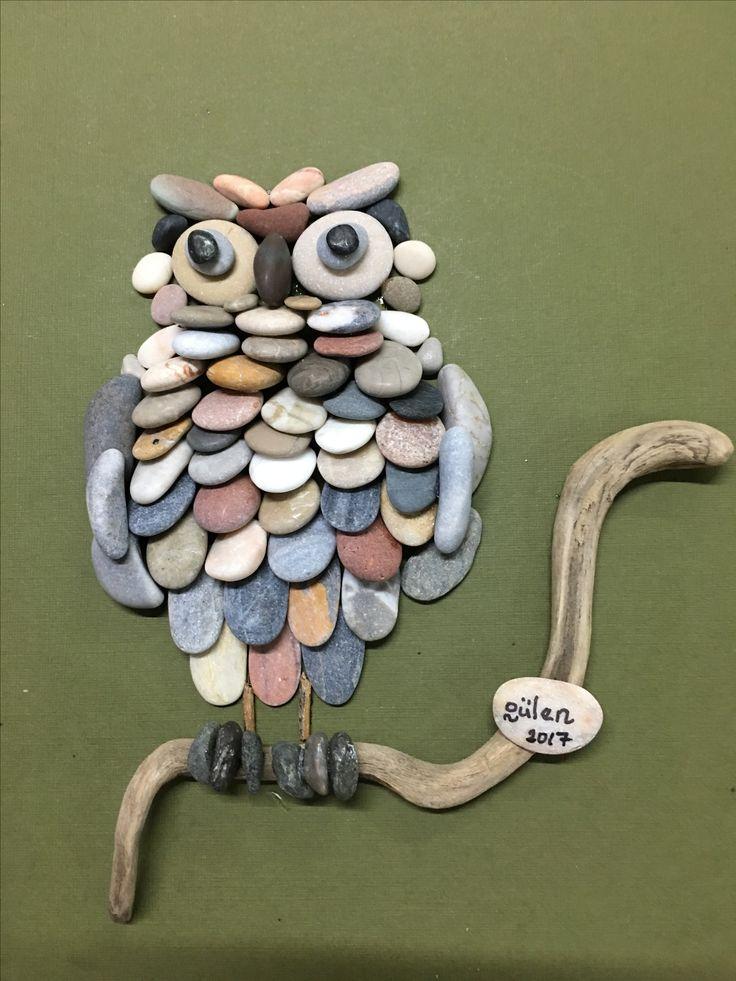 Pebbleart  owl by gülen 20-25 cm