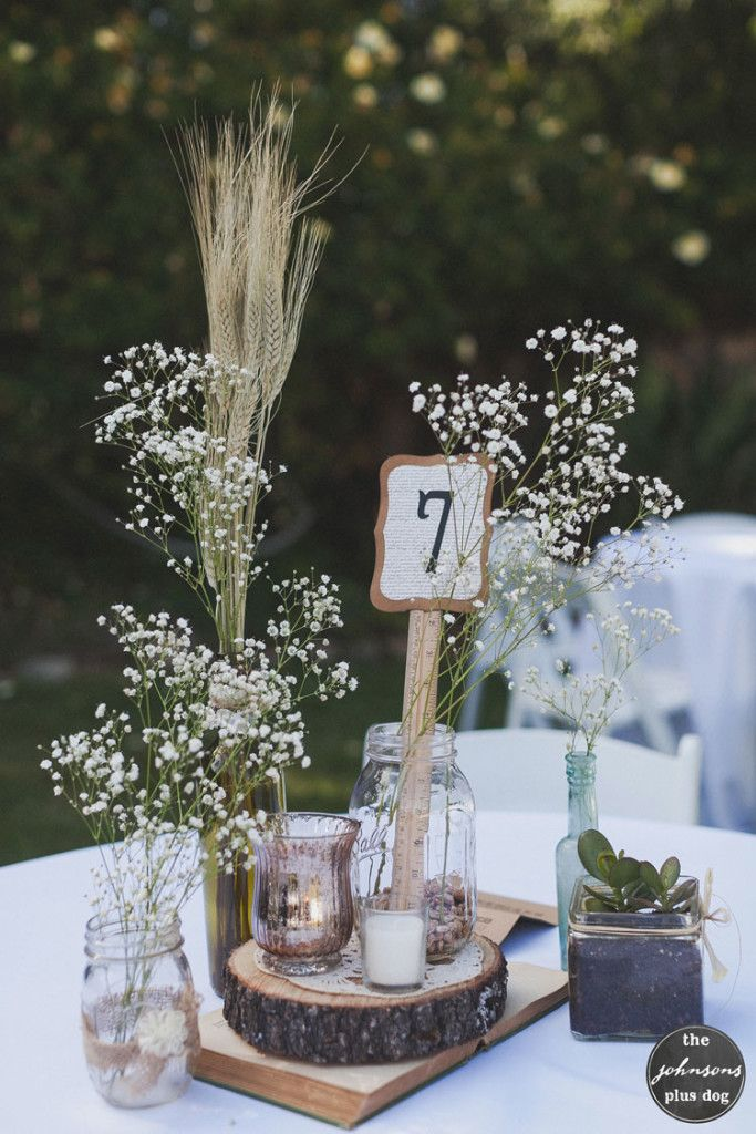 Baby's Breath & Wheat Centerpiece