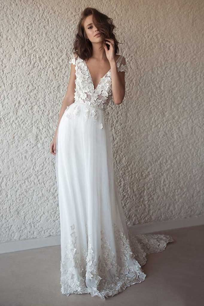 Ivory Cap Sleeve V Neck Wedding Dresses Beach Boho Appliques Bridal Dress N1402