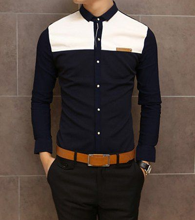Fashion Color Block Splicing Labeling Shirt Collar Long Sleeve Slimming Cotton Shirt For Men