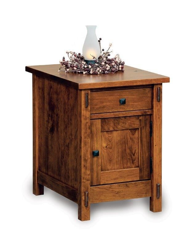 Amish Centennial Enclosed End Table with Drawer and Door