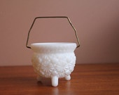 Fenton Milk Glass Daisy and Button Taper Candle Cauldron with Handle