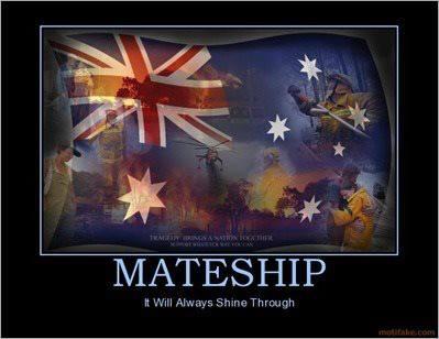 Australian mateship poster or postcard from Richelle Giro's proud aussie board • Australian mateship