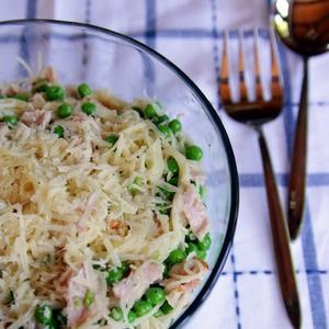 Weeknight Dinner: Capellini, Ham, and Peas... Ideas for left over ham! but instead of whipping cream i would use 1cup skim milk and 3tbs of fat free cream cheese