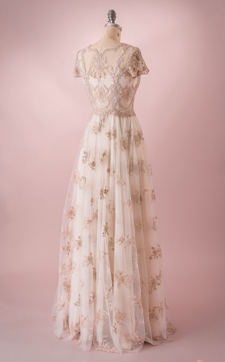 Elizabeth by Martin McCrea | Vintage inspired French Alençon lace fairy tale princess wedding dress with cap sleeves.