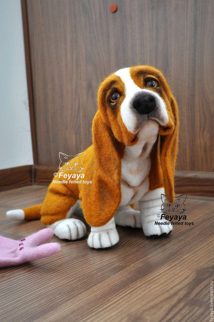 Купить Бассет хаунд Басечка - рыжий, бассет, собака, собаки, собака валяная, собака из шерсти