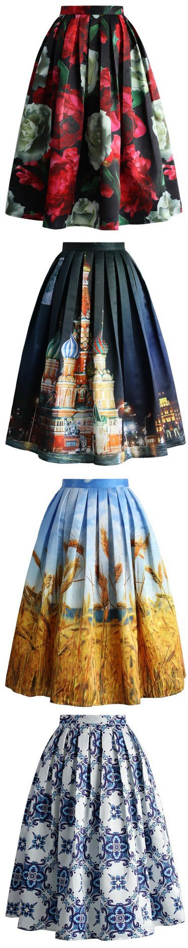 women print midi skirts for fall and winter with floral print, scenic print