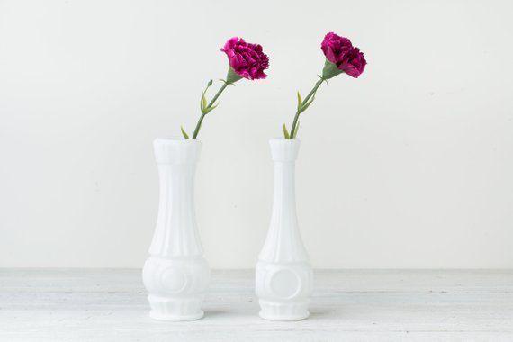 Set of 2 White Vases - Narrow Vases - Vases for Weddings - Vases for Gl Vase Images on