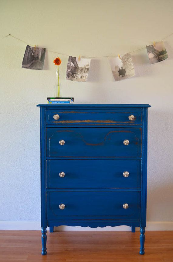 Best Antique Dresser Chest Of Drawers Hand Painted Blue 400 x 300