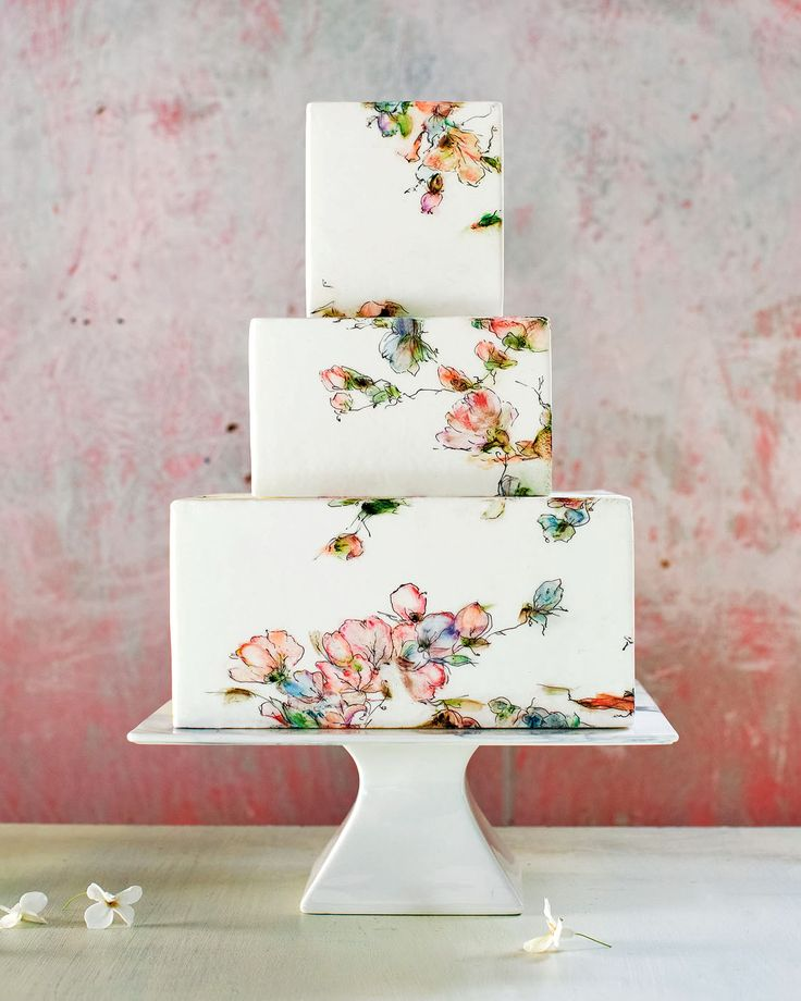 "Gorgeous Floral Wedding Cakes by Maggie Austin | Martha Stewart Weddings - Square Watercolor: ""This painting technique is delightfully simple, requiring only wet pigment, your fingers, and a paper towel; it's delicate and refined and unique every time. I find that the less I focus on creating specific shapes and patterns, the better."""