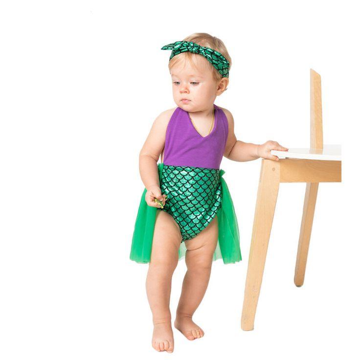 >> Click to Buy << Cute Newborn Baby Girl Clothes Summer Little Mermaid Bodysuit Tutu Skirted Bodysuits Jumpsuit #Affiliate