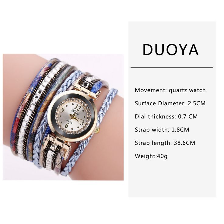 Bohemian Women Rhinestone Leather Women's Watches Multicolor Leather Bracelet Gift for Her online - NewChic