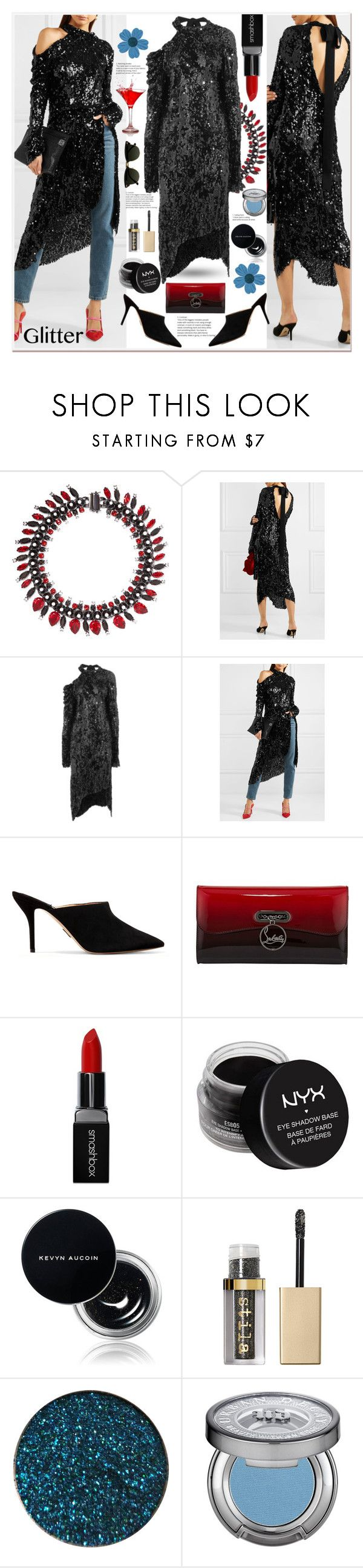 """Glitter Life"" by zouus ❤ liked on Polyvore featuring Givenchy, Magda Butrym, Paul Andrew, Christian Louboutin, Smashbox, NYX, Kevyn Aucoin, Stila, Urban Decay and Pippa"