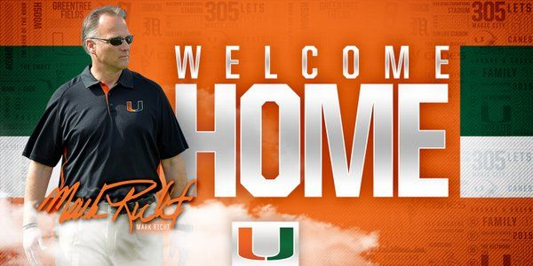 The Hurricanes are happy to have Mark Richt adt the helm of the football program