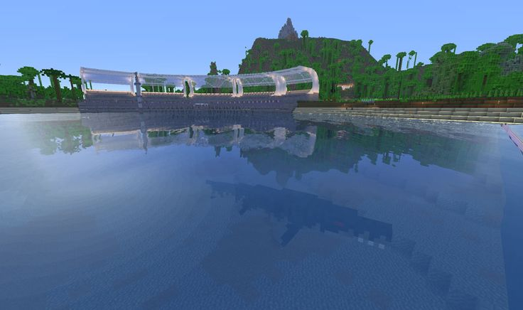 Mosasaurus swimming in the Mosasaurus Arena Minecraft Jurassic Park