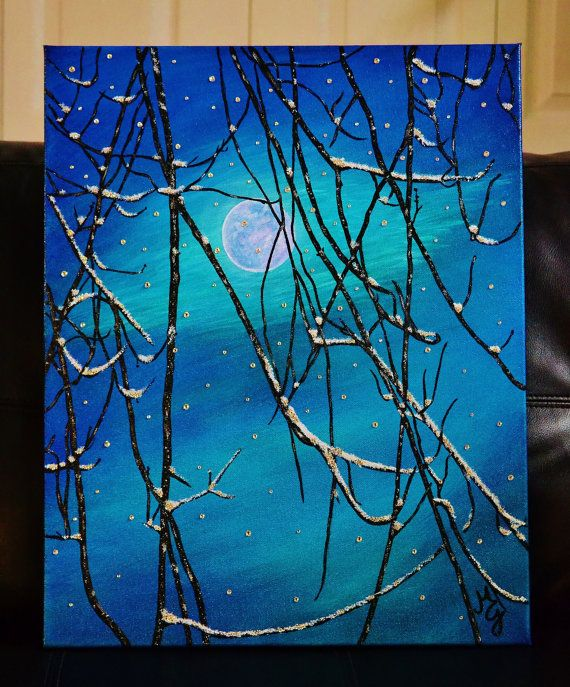 SOLD Original Winter Crystal Canvas Art W By MiaGalleria On Etsy 18500