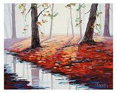 Autumn PAINTING red fall trees Painting Misty landscape Painting listed artist Graham gercken
