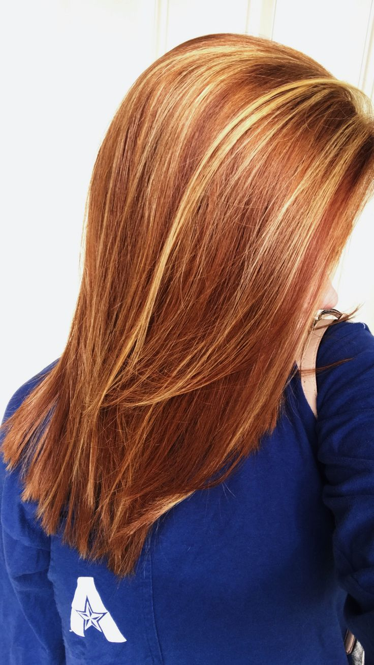 Natural red hair with auburn lowlights blonde highlights medium length