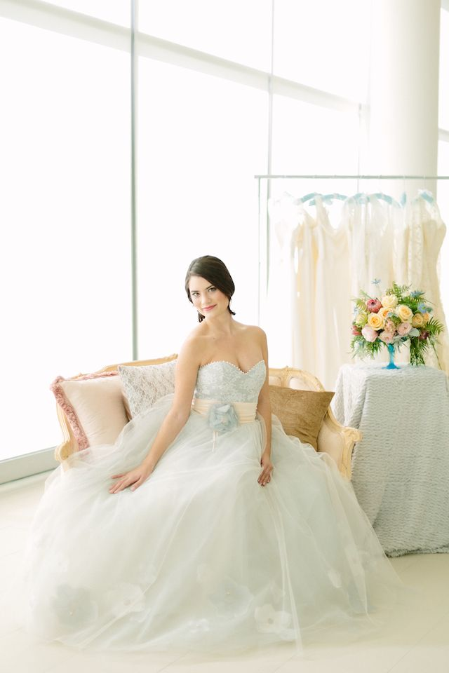 Alice Padrul powder blue wedding dress | City Love Photography | see more on: http://burnettsboards.com/2014/04/pastel-mint-gold-wedding-ideas/