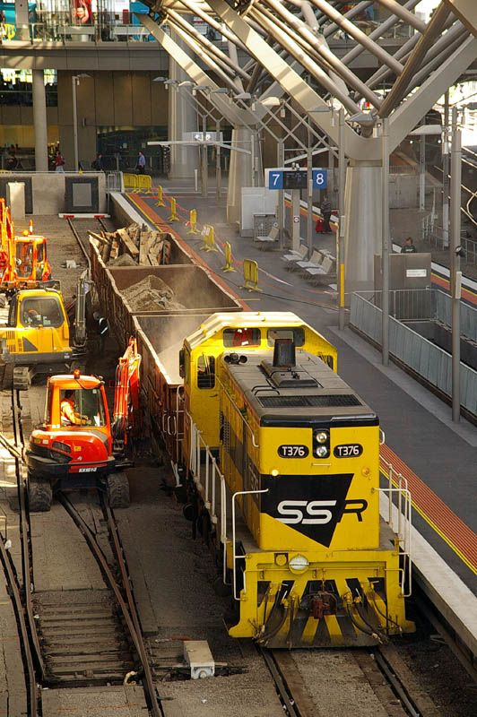 T376 with a short works train at Southern Cross