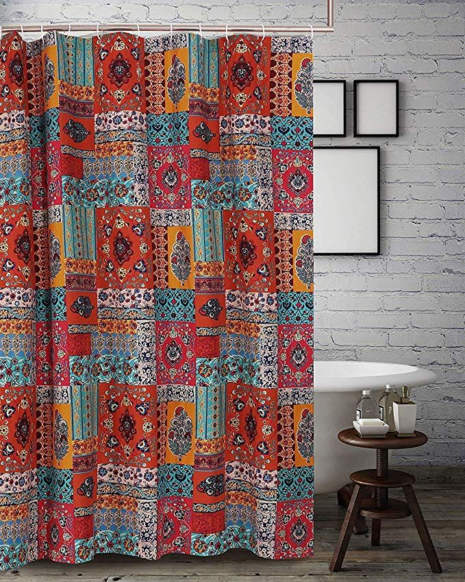 Fabric Shower Curtain Bathroom Bohemian Boho Hippie Mandala