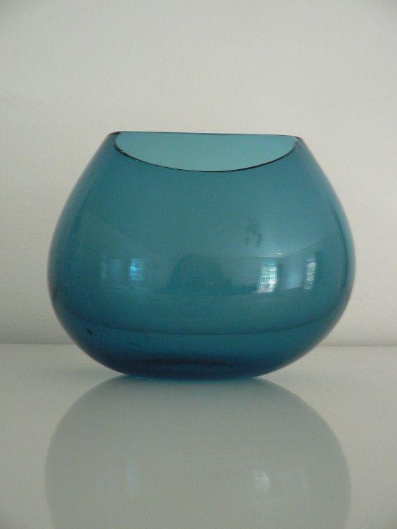 Mid century studio art glass vase / 1950s 60s turqoise blue glass vase / modernist  Scandinavian  vase